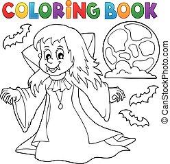 Coloring book vampire girl theme 1 - eps10 vector ...