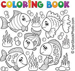 Coloring book various fish theme 1