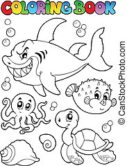Coloring book various sea animals 1 - vector illustration.