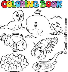 Coloring book various sea animals 3 - vector illustration.