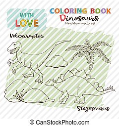 Coloring book vector dinosaurs Velociraptor and Stegosaurus,
