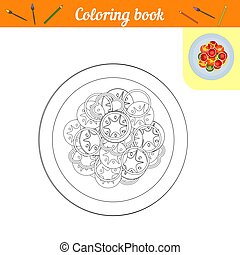 Coloring book. Vegetables on a plate. Painting Lunch or dinner. Page of black and white lines with a color example. Proper nutrition icon. Healthy food. Recipe for vegetables on a round dish.