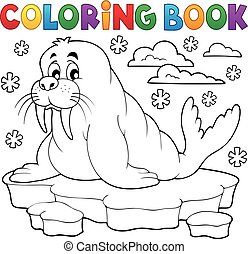 Coloring book walrus theme 1