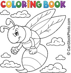 Coloring book wasp theme 1 - eps10 vector illustration.