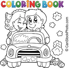 Coloring book wedding car