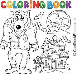 Coloring book werewolf theme - eps10 vector illustration.