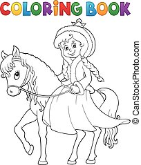 Coloring book winter princess on horse