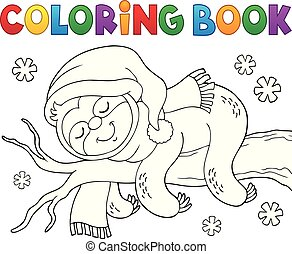 Coloring book winter sloth theme 1