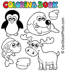 Coloring book winter topic 2 - vector illustration.
