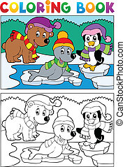 Coloring book winter topic 5 - vector illustration.