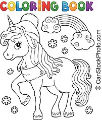 Coloring book winter unicorn theme 1 - eps10 vector ...