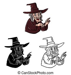 Coloring book Witch character