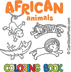 Coloring book with african animals
