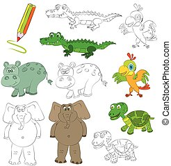 Coloring book with animals.