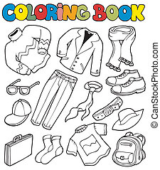Coloring book with apparel 1 - vector illustration.