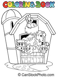 Coloring book with barn and animals - vector illustration.