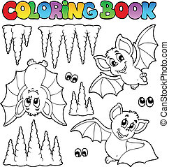 Coloring book with bats - vector illustration.