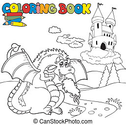 Coloring book with big dragon 1 - vector illustration.