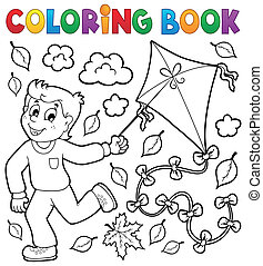 Coloring book with boy and kite - eps10 vector illustration.