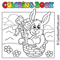 Coloring book with bunny in basket