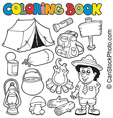 Coloring book with camping images - vector illustration.