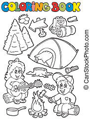 Coloring book with camping theme