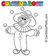Coloring book with cheerful clown 1 - vector illustration.