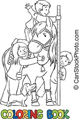 Coloring book with children and a pony