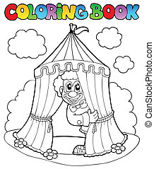 Coloring book with clown and tent
