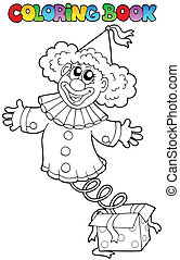 Coloring book with clown in box - vector illustration.