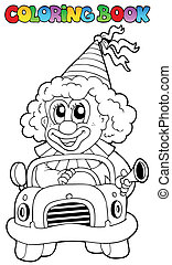 Coloring book with clown in car