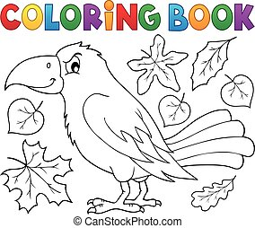 Coloring book with crow and leaves - eps10 vector ...