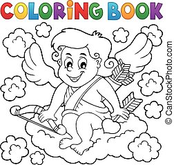 Coloring book with Cupid 3 - eps10 vector illustration.