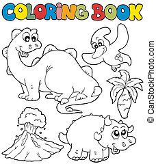 Coloring book with dinosaurs 2 - vector illustration.