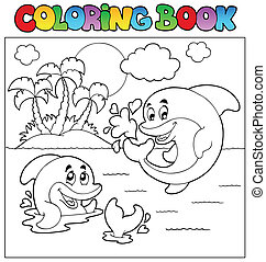 Coloring book with dolphins 2 - vector illustration.