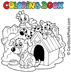 Coloring book with domestic animals - vector illustration.