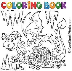 Coloring book with dragon and treasure