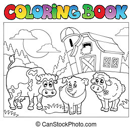 Coloring book with farm animals 3 - vector illustration.
