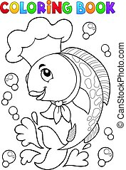 Coloring book with fish chef - eps10 vector illustration.