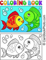 Coloring book with fish theme 5 - Coloring book with fish...