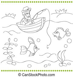 Coloring book with fisherman