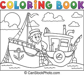 Coloring book with fishing boat theme 1 - eps10 vector...
