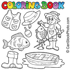 Coloring book with fishing gear - vector illustration.