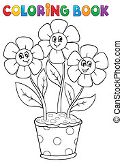Coloring book with flower theme 5 - eps10 vector...