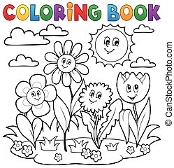 Coloring book with flower theme 7 - eps10 vector...