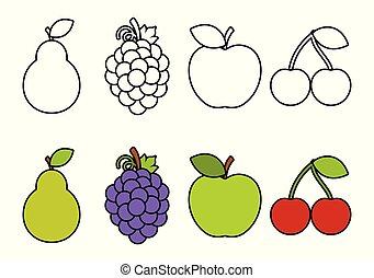 Coloring book with fruits, coloring for kids