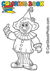 Coloring book with funny clown
