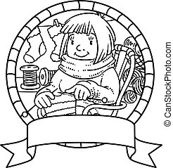 Coloring book with funny knitter women. Emblem