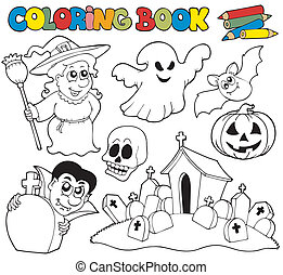 Coloring book with Halloween theme - vector illustration.