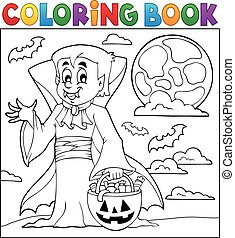 Coloring book with Halloween vampire - eps10 vector ...